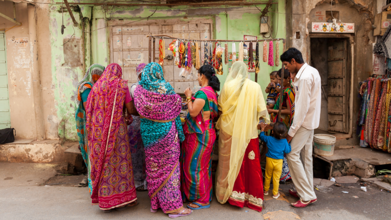 Locals browsing the market stalls in Pushkar