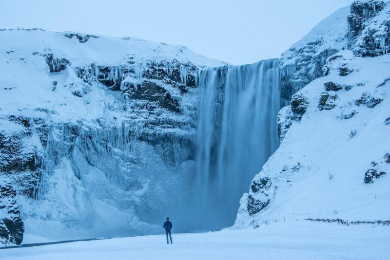Iceland winter Seljalandfoss waterfall