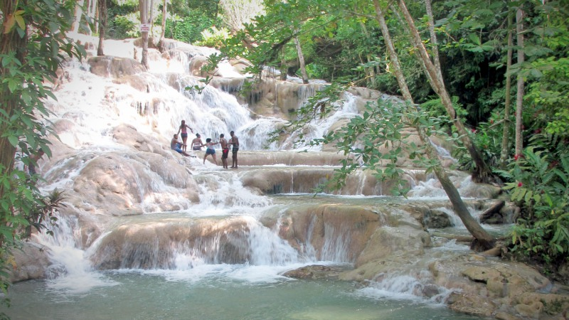 Climbing Dunns River Falls in Jamaica