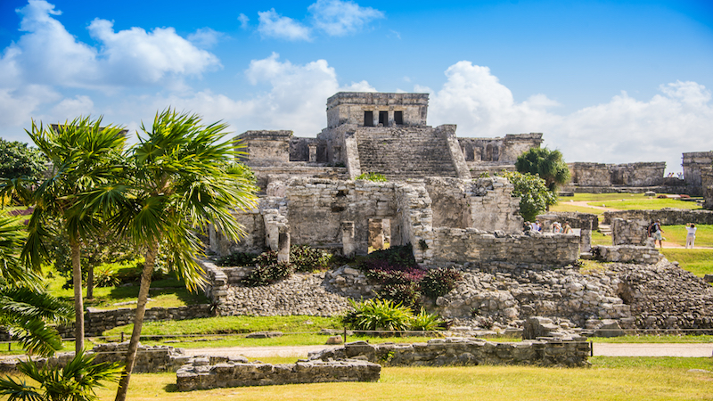 A ground level view of the ancient Mayan Tulum Ruins