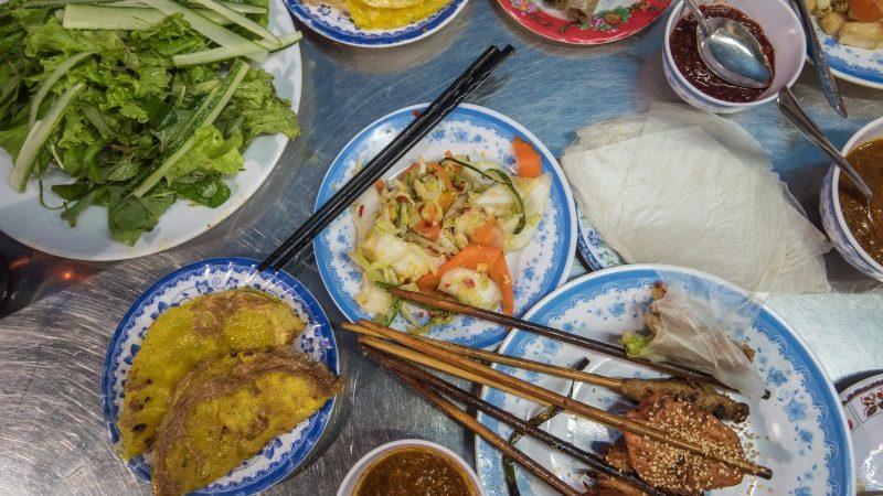 Birds-eye view of Vietnamese meal