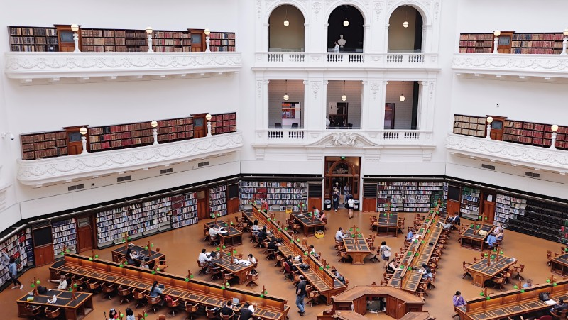 The impressive reading room at the State Library.