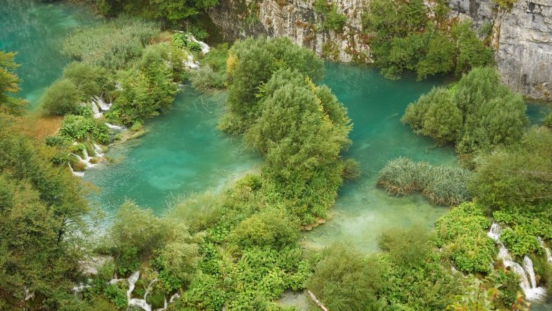 Aerial view of Plitvice Lakes National Park, Croatia
