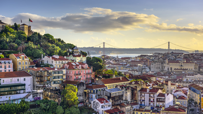 Sunset views over Lisbon, Portgual