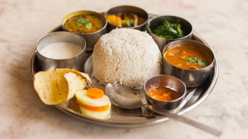 A tray of dal bhat
