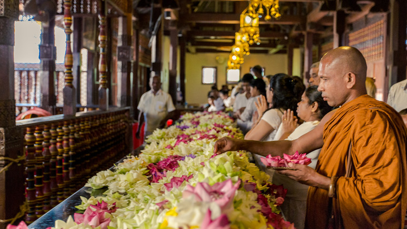 Worshippers at Kandy's Temple of the Tooth