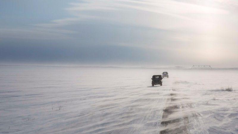 Two Trekols drive across the Tundra