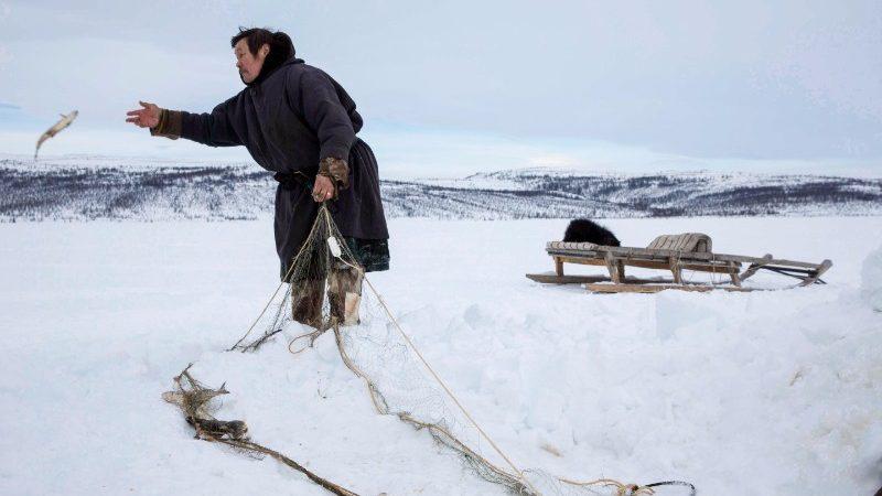 Ice fishing on the Tundra