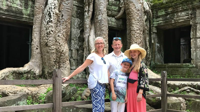 Helen and her family at Angkor Wat