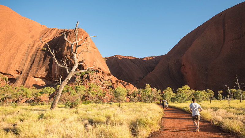 Walking around the base of Uluru