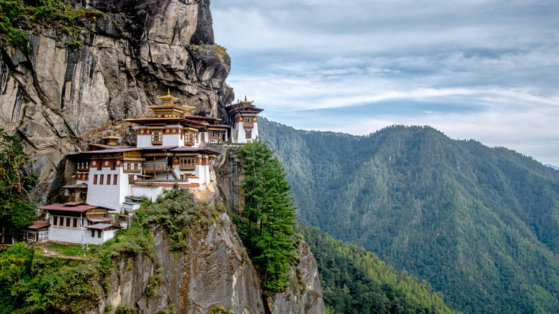 The Tiger's Nest Monastery in Bhutan.