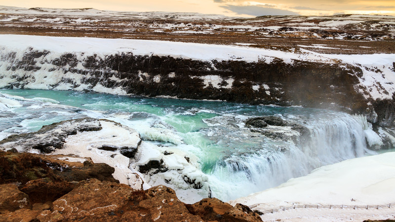 Gullfoss waterfall Iceland on a budget