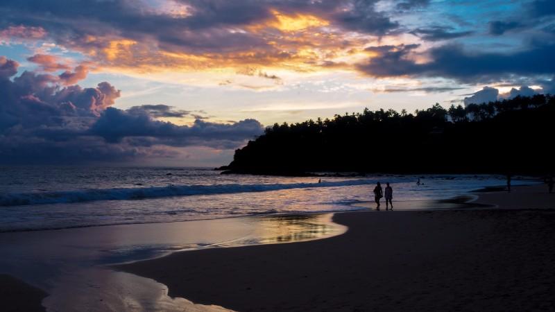 Mirissa beach at sunset