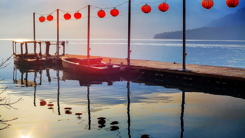 Red lanterns hang above Taiwan's Sun Moon Lake