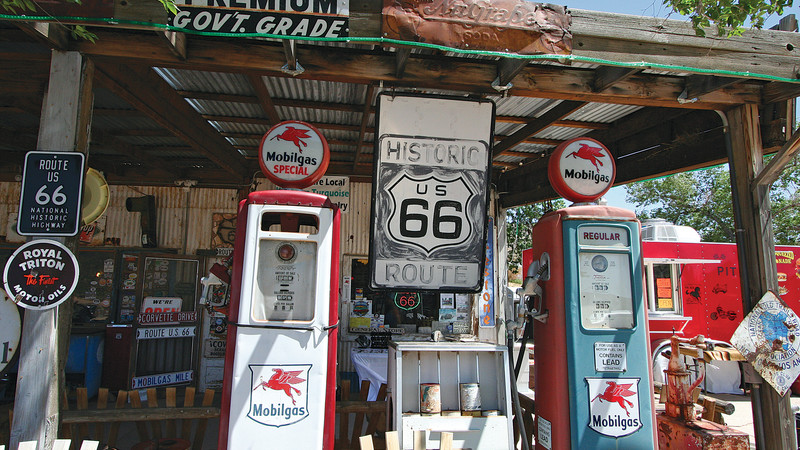 Vintage petrol pumps on Route 66.