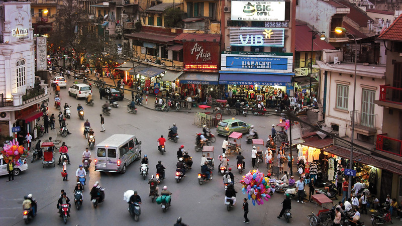 A busy intersection in Hanoi