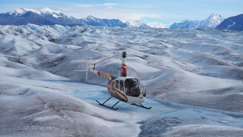 A helicopter on the ice