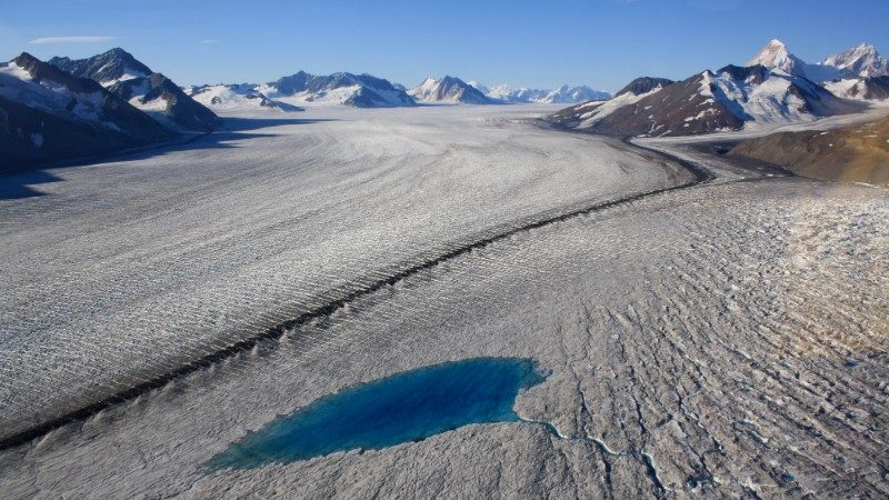 Meltponds on glaciers can be seen in summer
