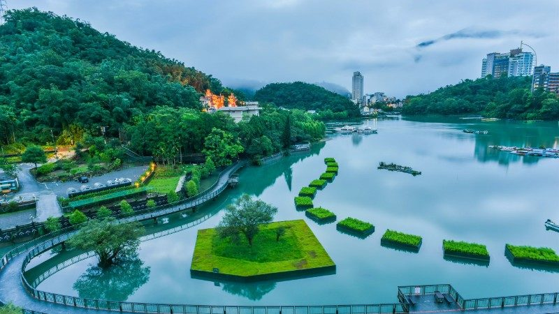 A bike track encircles Taiwan's Sun Moon Lake
