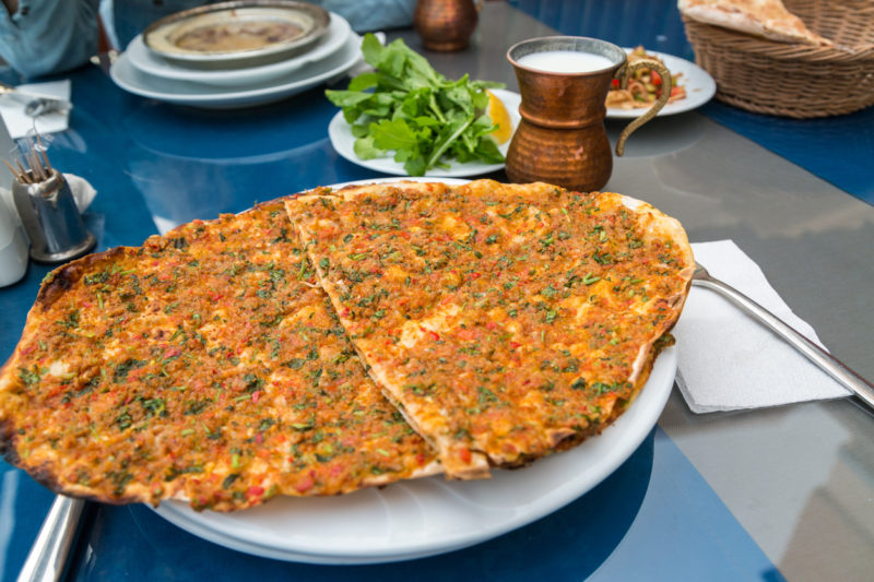 Lahmacun food in Turkey