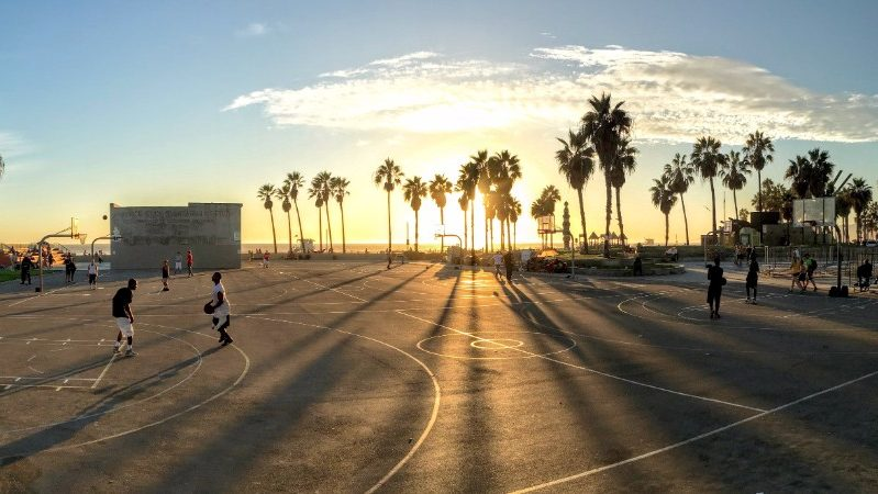 A basketball match at Venice Beach