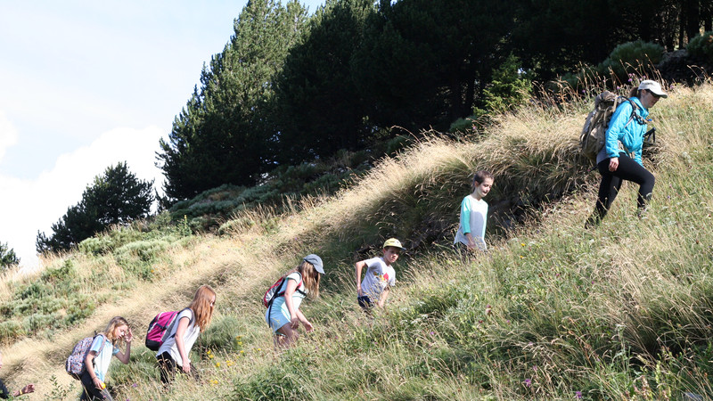 Kids hiking in Andorra