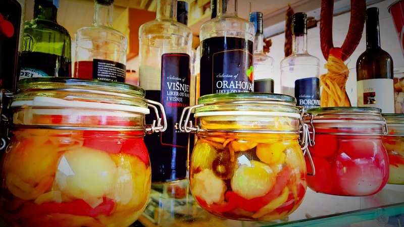 Jars of pickled vegetables at a market in Zagreb, Croatia