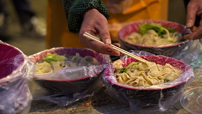 Bowls of Chinese noodles