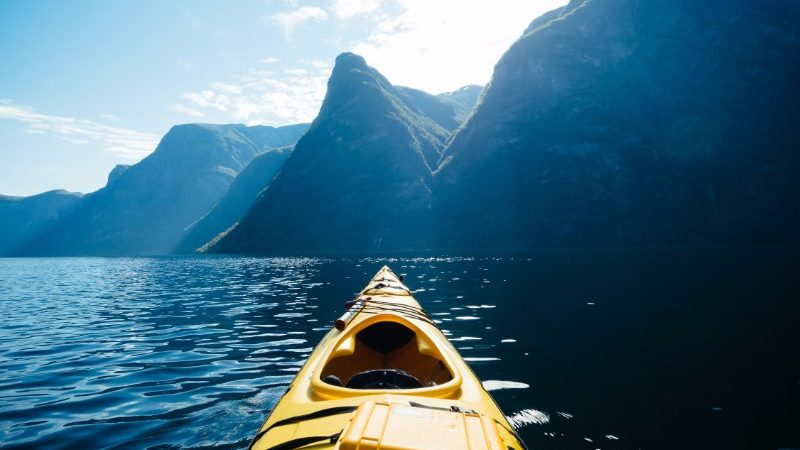 Kayaking through Naeroyfjord