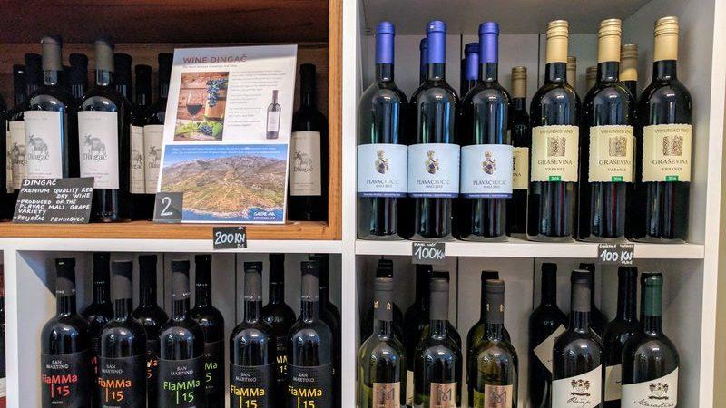 Shelves of wine in Zagreb