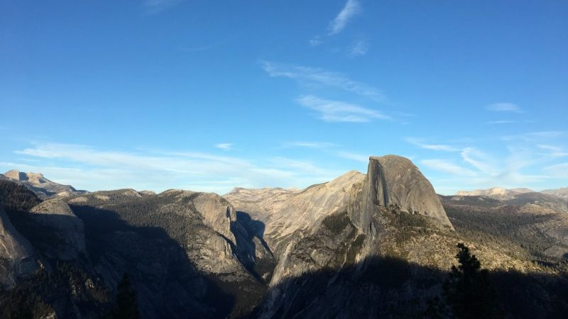 The view of Half Dome from Glacier Point in Yosemite
