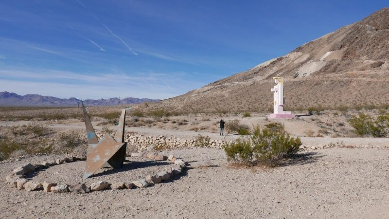 Steel origami crane in Death Valley outdoor museum