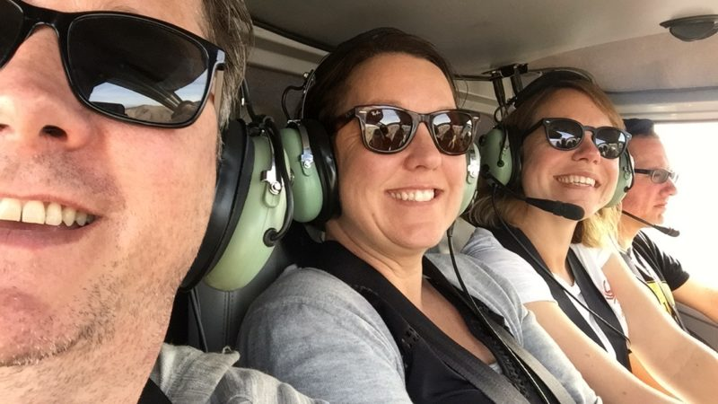 Intrepid travellers in a helicopter