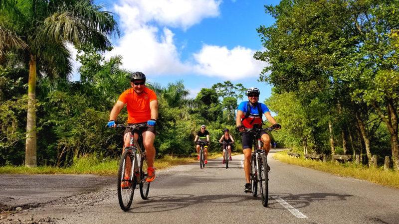 4 cyclists outside Las Terrazas in Cuba