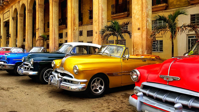Colourful vintage cars parked in Havana, Cuba