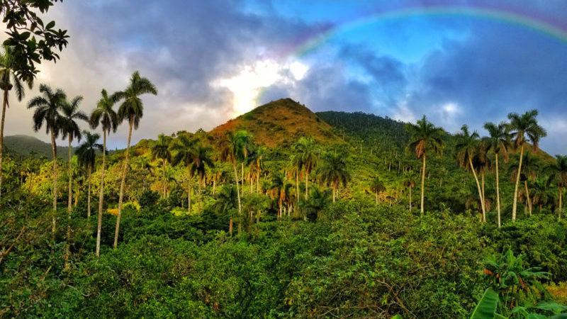 A rainbow above the hinterland in Soroa, Cuba