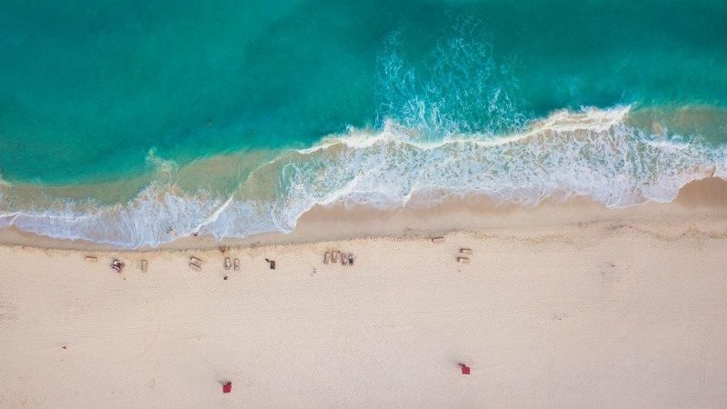 Aerial view of beach in Cancun, Mexico
