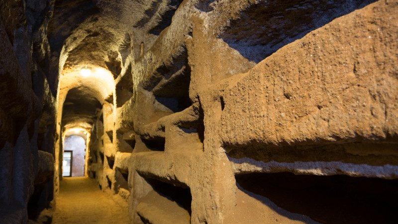 A dark underground passageway in Rome