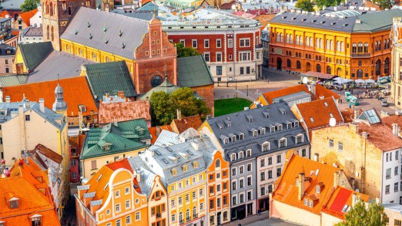 Colourful buildings in Riga, Latvia