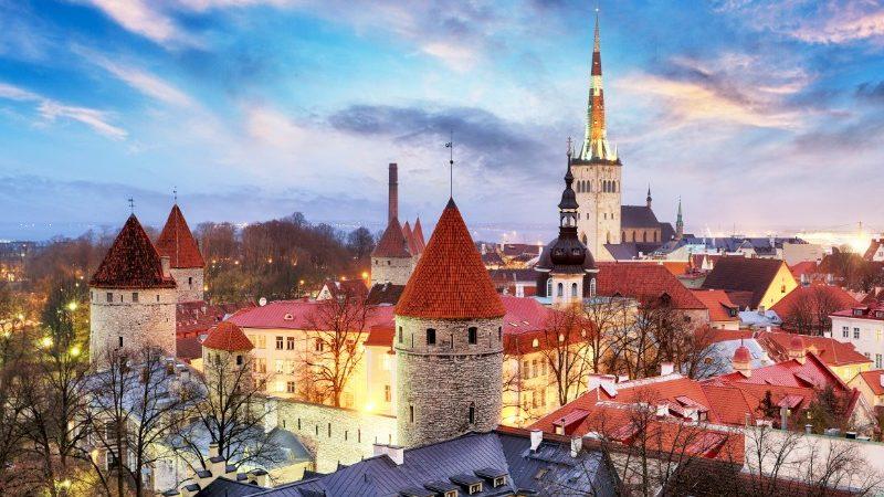 The red rooftops of Tallinn, Estonia at dusk.