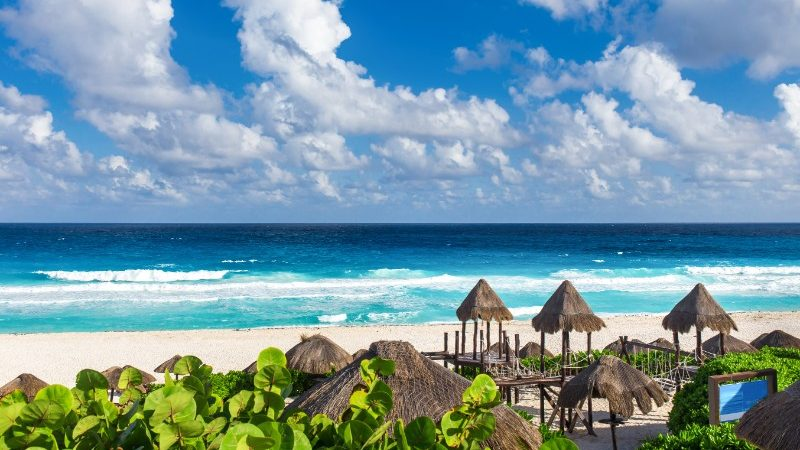 Beach Huts At Cancun Mexico