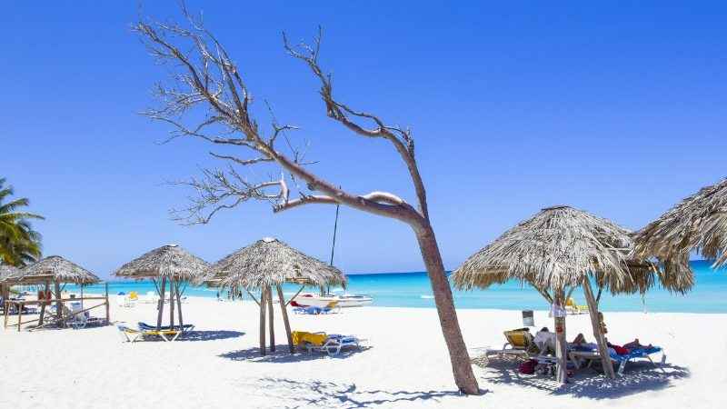 Idyllic white sandy beach at Varadero, Cuba