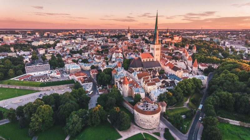 An aerial view of the Old Town in Tallinn, Estonia