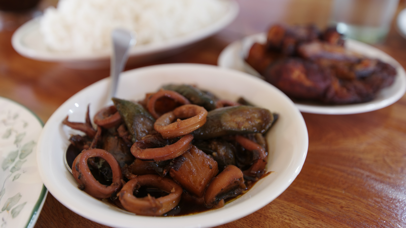 Traditional Filipino squid adobo