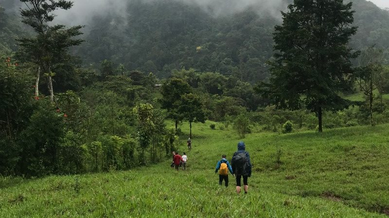 A group of hikers trek through farmland in Costa Rica