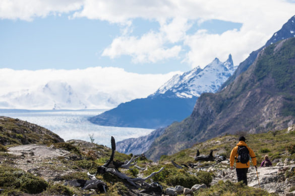 A hiker treks through the mountains in Patagonia