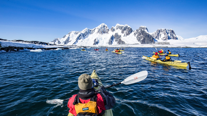 A group of kayakers in Antarctica