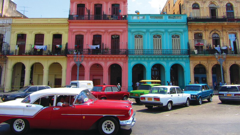 Colourful buildings and cars in Havana, Cuba