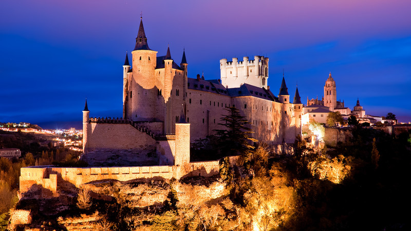 Alcazar Castle in Segovia at night