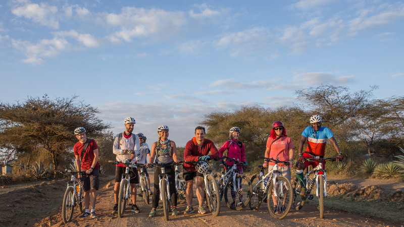 A group of cyclists on an Intrepid trip in Tanzania